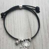 Childrens Black Cord Bracelet with Butterfly Charm