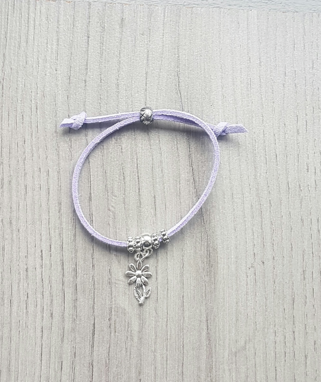 Childrens Lilac Cord Adjustable Bracelet with Flower Charm