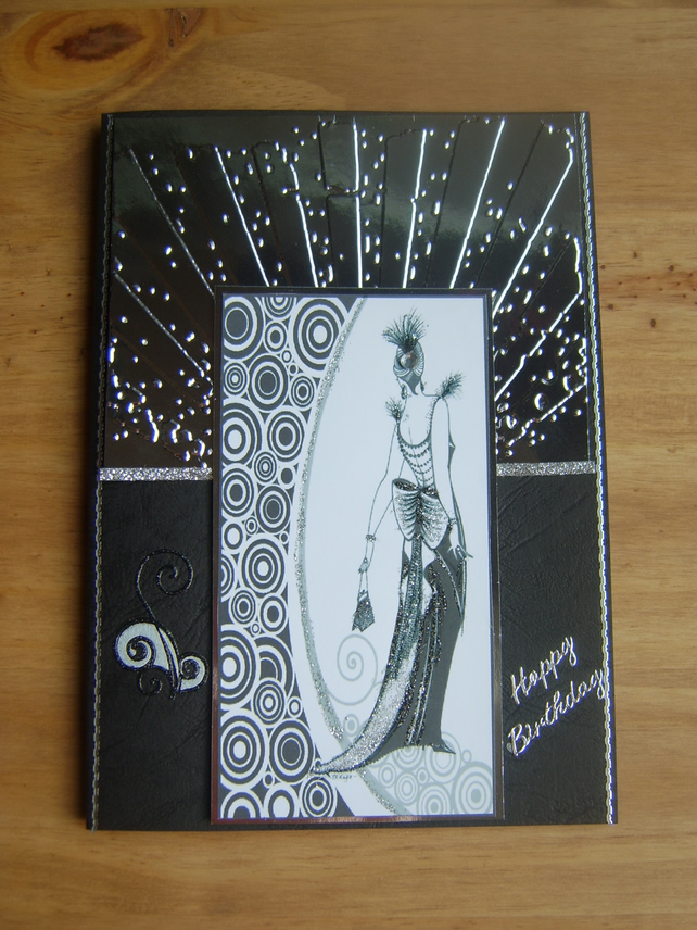 Art Deco Handmade Birthday Card Folksy