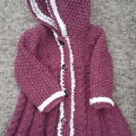 Handknitted Plum Swing Coat