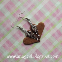 Sweet heart shape dangle cookie cake earrings fimo clay gift UK