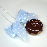 Sweet necklace white chocolate donut doughnut with rainbow sprinkles ribbon