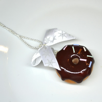Sweet necklace chocolate donut doughnut with rainbow sprinkles ribbon kawaii