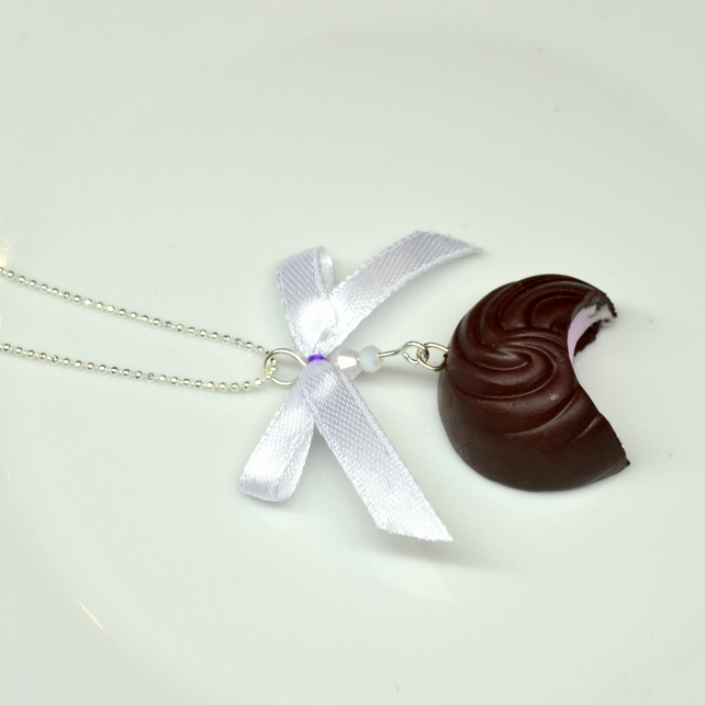 Sweet necklace chocolate praline with ribbon and swarovski crystals and glass