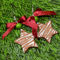 Sweet Christmas dangle cookie cake earrings with ribbon and glass bead gift UK