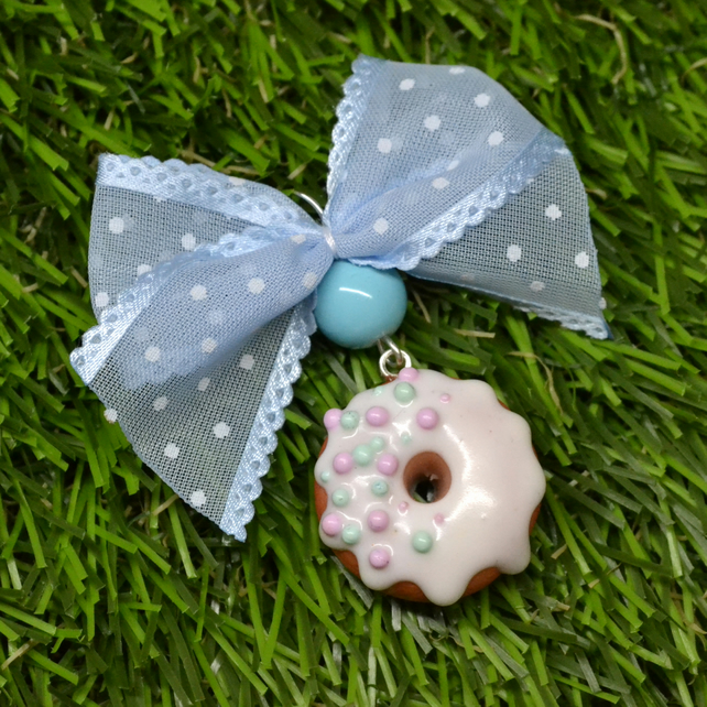 Sweet PENDANT white chocolate donut doughnut with rainbow sprinkles GIFT FOR HER