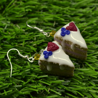 Lovely cakes birthday cake berry strawberry sugar icing earrings fimo clay lunch