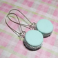 Mint pastel green miniature food macaroon paris dangle earrings cute kawaii