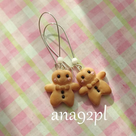 Christmas gingerbread men biscuit cookie miniature long drop dangle earrings