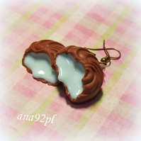 Big chocolate milk milky praline with chocolate filling earrings drop dangle
