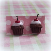 Cupcake chocolate muffin miniature post stud earrings with icing and cherry