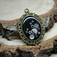 Steampunk necklace with watch parts Upcycled necklace watch movement cameo resin