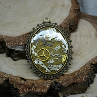 XL BIG Steampunk necklace with gears cogs Upcycled necklace watch movement