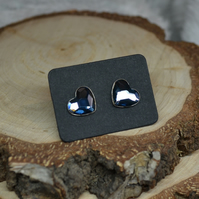 Steampunk Valentines day heart SWAROVSKI BLUE stud post cute gift for her