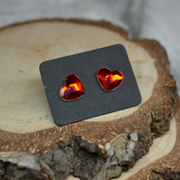 Steampunk Valentines day heart SWAROVSKI RED stud post cute gift for her