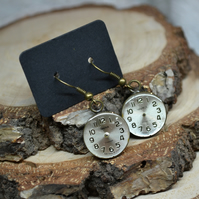 Steampunk gear cog mechanism watch elements parts post stud resin earrings