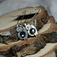 Steampunk gear cog mechanism watch elements parts earrings SWAROVSKI CRYSTALS