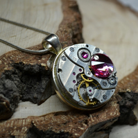 Steampunk necklace with PINK BIG RARE Swarovski Crystals Upcycled necklace watch