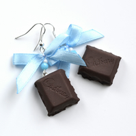 Lovely chocolate with blue ribbon cadburry chocolate mini food miniature jewelry