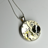 Steampunk necklace with GREY BIG RARE Swarovski Crystals Upcycled necklace watch