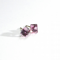 CUBE Sterling Silver and Swarovski Crystals stud earrings