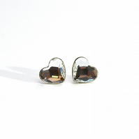 HEART Sterling Silver and Swarovski Crystals stud earrings