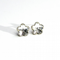 FLOWER Sterling Silver and Swarovski Crystals stud earrings