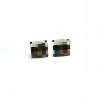 SQUARE Sterling Silver and Swarovski Crystals stud earrings