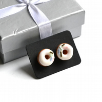 Sweet post stud handmade earrings white icinig donut doughnuts kitchen baking