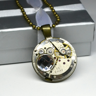 Steampunk necklace with Swarovski Crystals Upcycled necklace watch movement