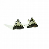 TRIANGLE Sterling Silver and Swarovski Crystals stud earrings