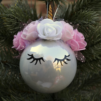 Lovely unicorn crown bauble with ears pearl standard baubles 6-7 cm