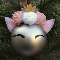 Lovely unicorn crown bauble with ears pearl standard baubles 6-7 cm ONLY 1 PC