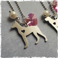 Doberman Paw Print Necklace Cute Animal Dog Memorial jewelry Pet Lover