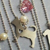 Chihuahua Paw Print Necklace Cute Animal Dog Memorial jewelry Pet Lover