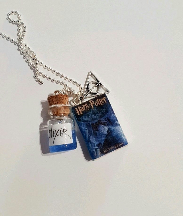 HP hogwart bottle elixir necklace  Harry Potter gift miniature book