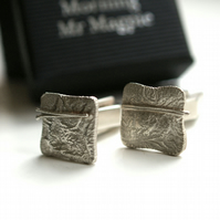 Abstract Silver Cufflinks