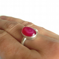 Hot Pink Agate Ring