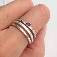 Distressed Silver Amethyst Stacking Ring