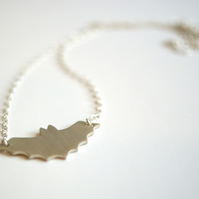 Halloween Silver Bat Necklace