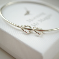 Love Hearts Bangle (2 Hearts) - Birthday gift - Anniversary gift for her