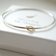 Love Hearts Bangle with 9ct Gold Heart - Birthday - Anniversary gift for her