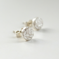 Fine Silver Secret Garden mini studs (6mm)