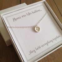 Sterling Silver Button Necklace - gift for her