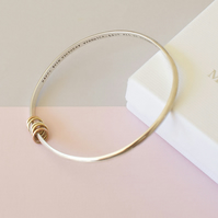 Personalised bangle with 9ct Gold and Silver rings