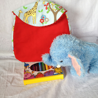 Toddler Backpack in Cath Kidston Elephant Cotton Duck and Red Canvas
