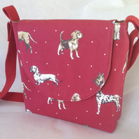 Dog Walker's Messenger Bag in Red Dog breeds Canvas, lined in brown cotton
