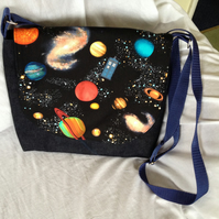 Galaxy Messenger bag in denim with Space print panel and flying Police Box