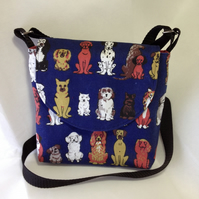 Dog Walker's Messenger Bag in Blue Dog breeds Canvas, lined in marble red cotton