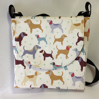 Dog Walker's Messenger Bag in Cream Dog breeds Canvas, lined in dotty cotton